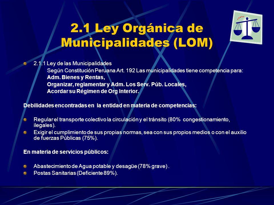 2.1 Ley Orgánica de Municipalidades (LOM)