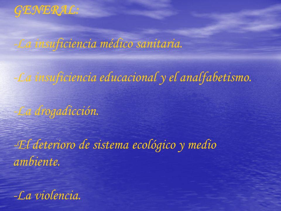 GENERAL: -La insuficiencia médico sanitaria. -La insuficiencia educacional y el analfabetismo. -La drogadicción.