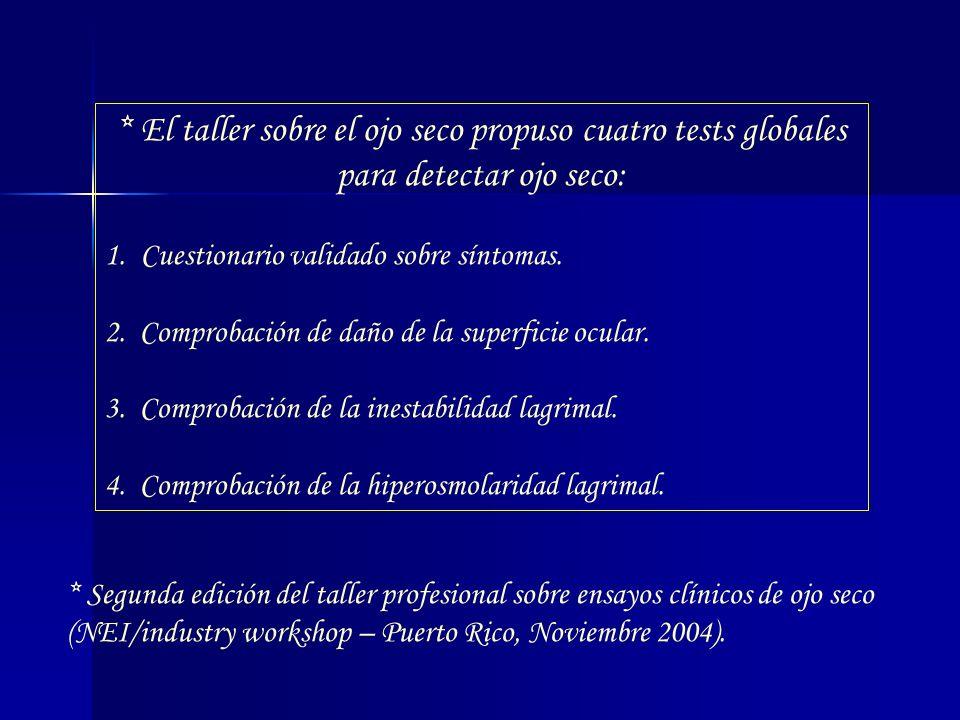 * El taller sobre el ojo seco propuso cuatro tests globales