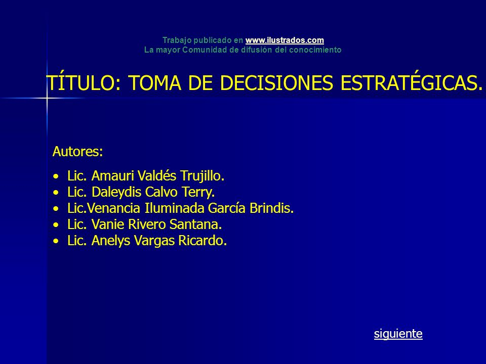 TÍTULO: TOMA DE DECISIONES ESTRATÉGICAS.