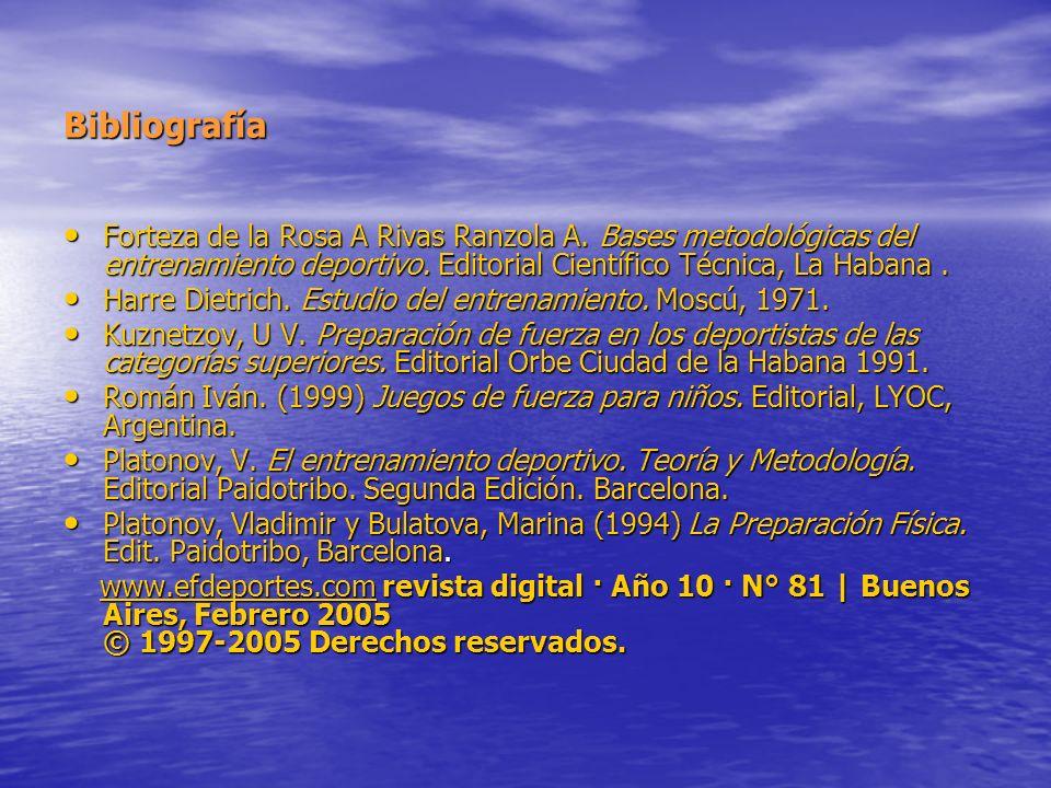 Bibliografía Forteza de la Rosa A Rivas Ranzola A. Bases metodológicas del entrenamiento deportivo. Editorial Científico Técnica, La Habana .