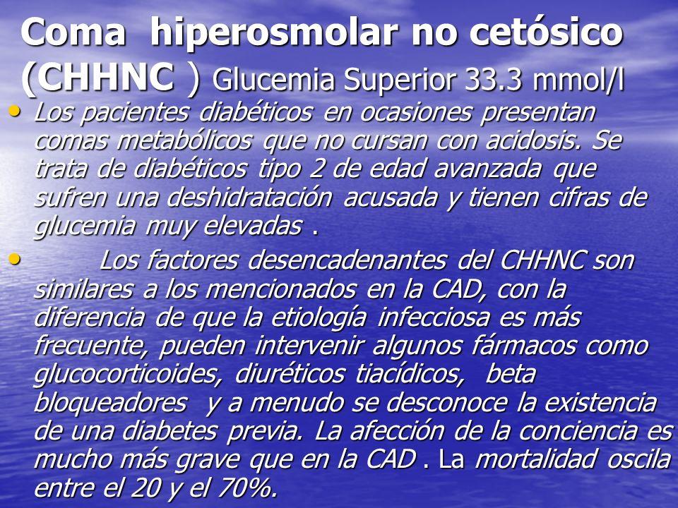 Coma hiperosmolar no cetósico (CHHNC ) Glucemia Superior 33.3 mmol/l