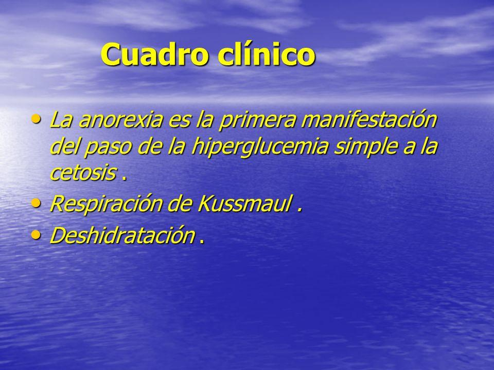 Cuadro clínico La anorexia es la primera manifestación del paso de la hiperglucemia simple a la cetosis .