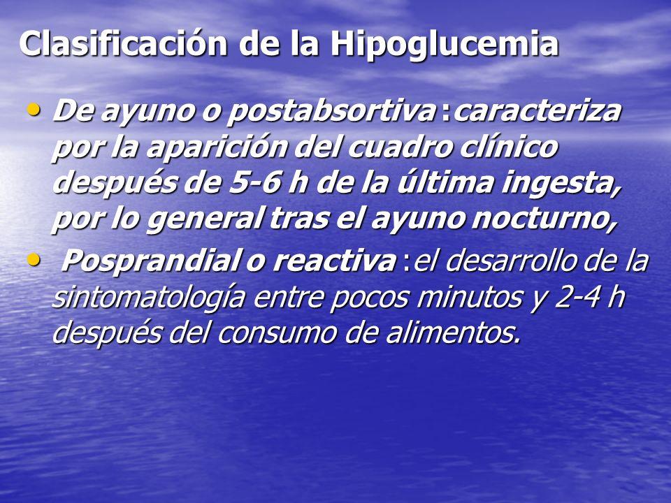 Clasificación de la Hipoglucemia