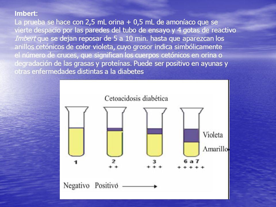 Imbert:La prueba se hace con 2,5 mL orina + 0,5 mL de amoníaco que se. vierte despacio por las paredes del tubo de ensayo y 4 gotas de reactivo.