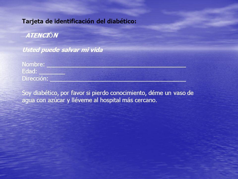 Tarjeta de identificación del diabético:
