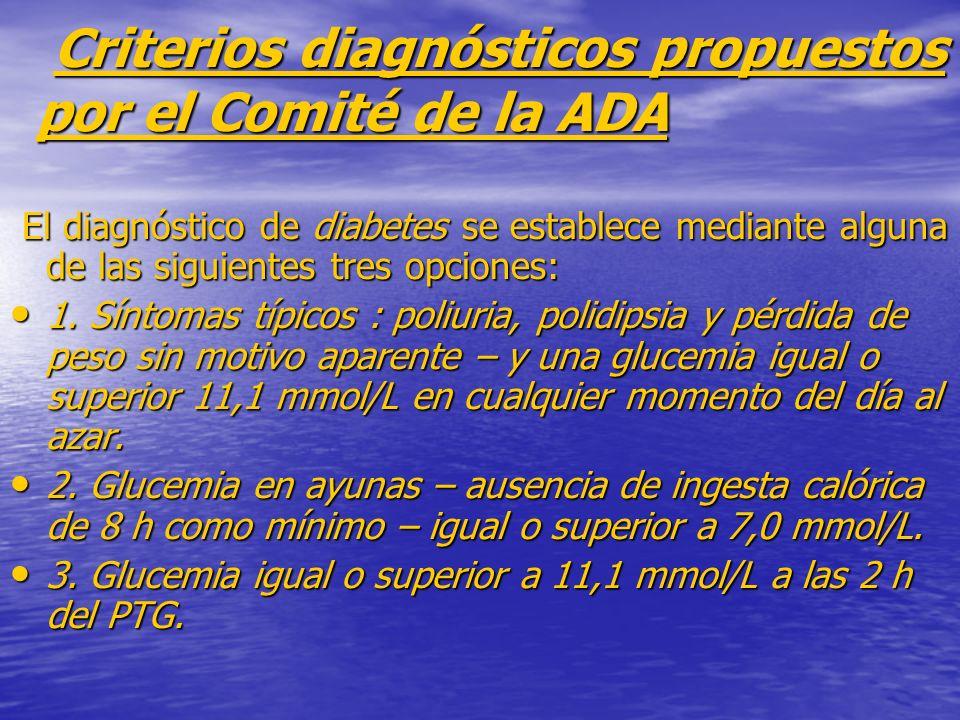 Criterios diagnósticos propuestos por el Comité de la ADA