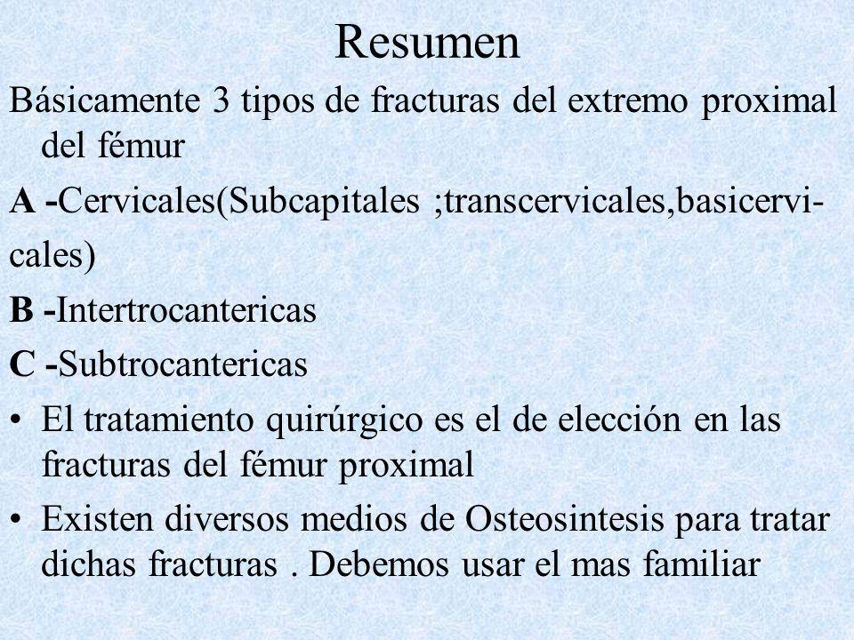 Resumen Básicamente 3 tipos de fracturas del extremo proximal del fémur. A -Cervicales(Subcapitales ;transcervicales,basicervi-