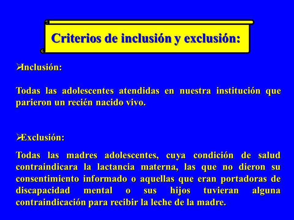 Criterios de inclusión y exclusión: