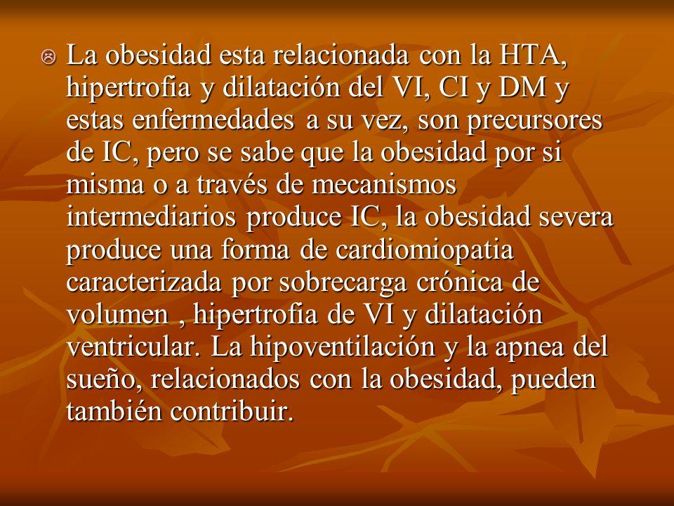 La obesidad esta relacionada con la HTA, hipertrofia y dilatación del VI, CI y DM y estas enfermedades a su vez, son precursores de IC, pero se sabe que la obesidad por si misma o a través de mecanismos intermediarios produce IC, la obesidad severa produce una forma de cardiomiopatia caracterizada por sobrecarga crónica de volumen , hipertrofia de VI y dilatación ventricular.