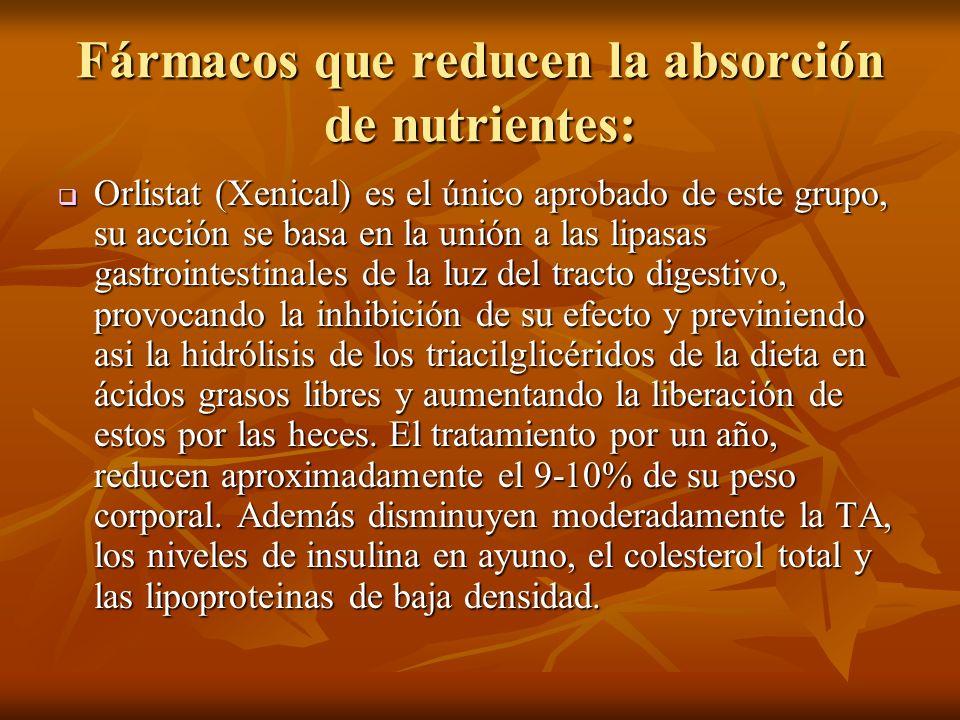 Fármacos que reducen la absorción de nutrientes: