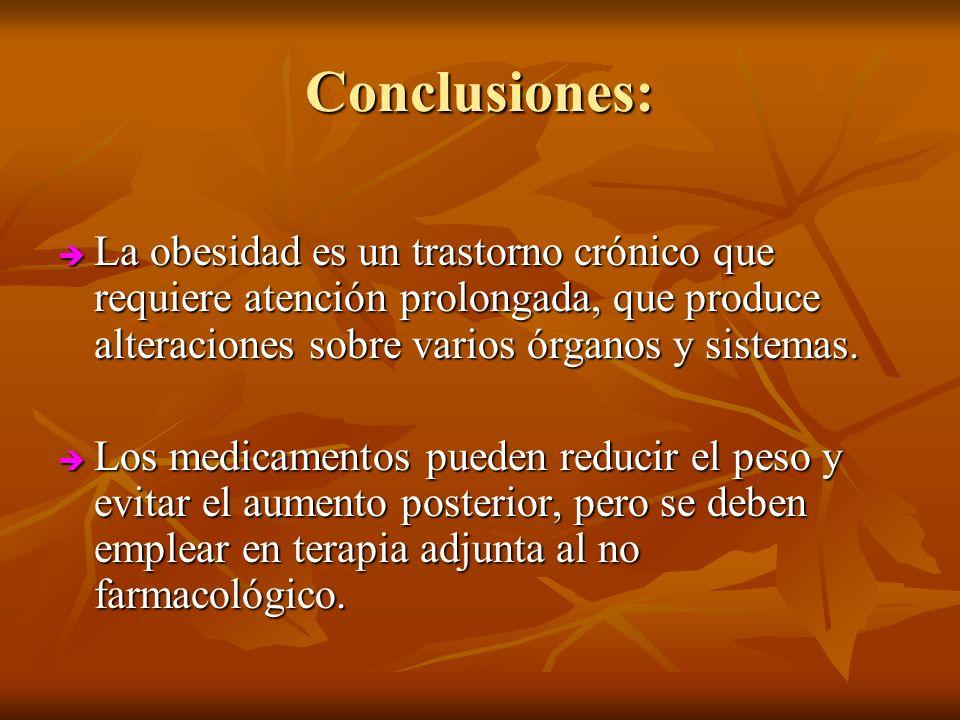 Conclusiones:La obesidad es un trastorno crónico que requiere atención prolongada, que produce alteraciones sobre varios órganos y sistemas.