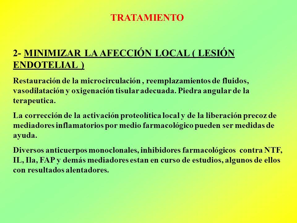 2- MINIMIZAR LA AFECCIÓN LOCAL ( LESIÓN ENDOTELIAL )