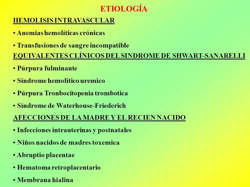 ETIOLOGÍA HEMOLISIS INTRAVASCULAR Anemias hemolíticas crónicas