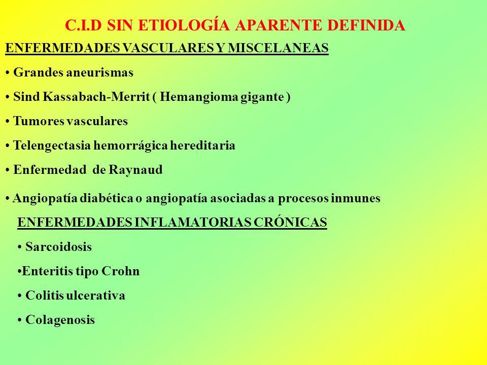 C.I.D SIN ETIOLOGÍA APARENTE DEFINIDA