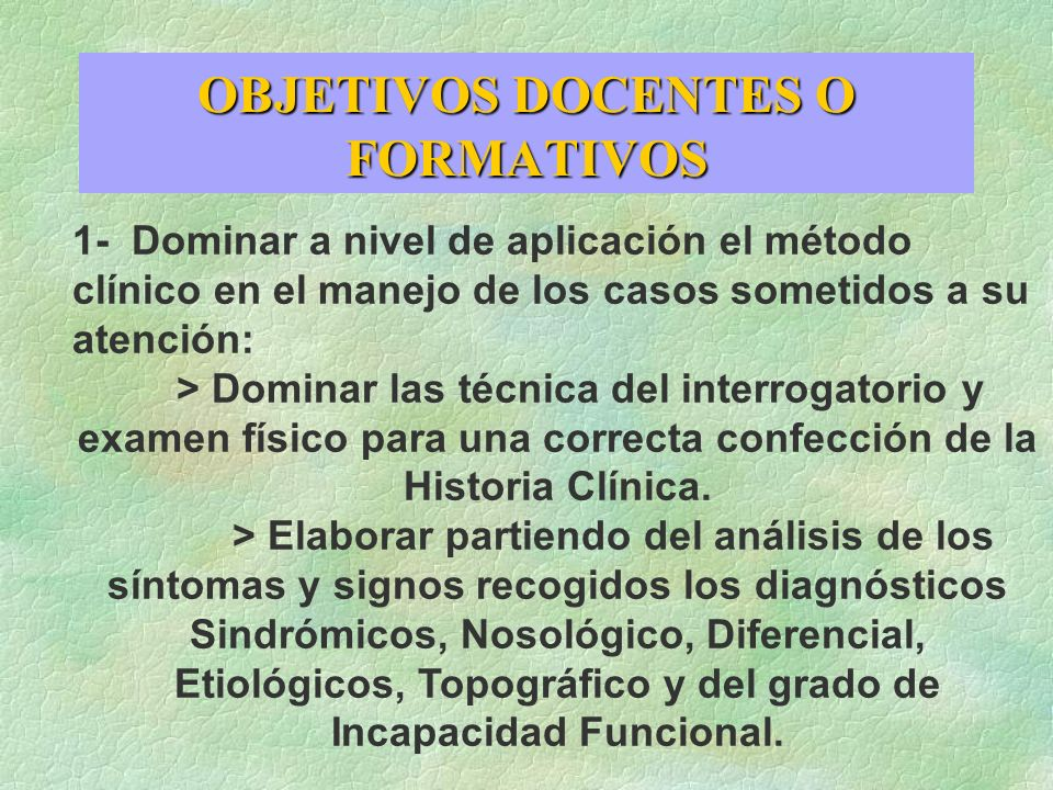 OBJETIVOS DOCENTES O FORMATIVOS
