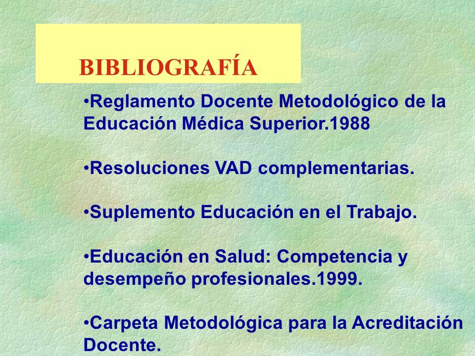 BIBLIOGRAFÍAReglamento Docente Metodológico de la Educación Médica Superior.1988. Resoluciones VAD complementarias.