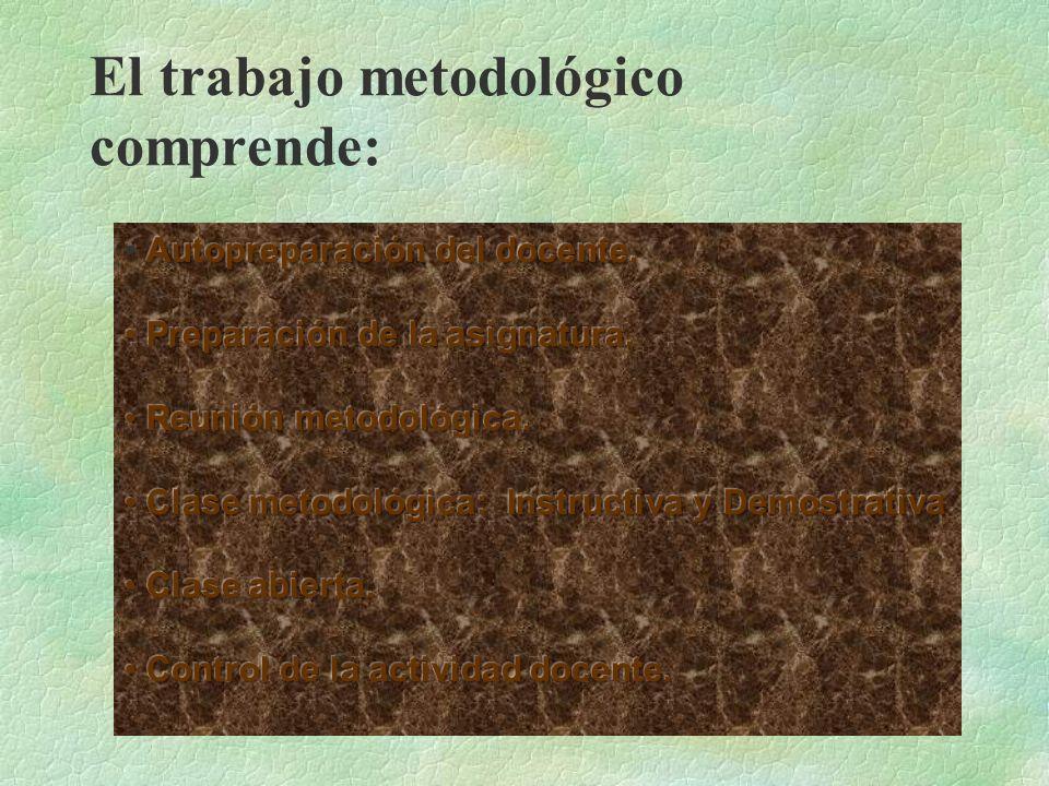 El trabajo metodológico comprende: