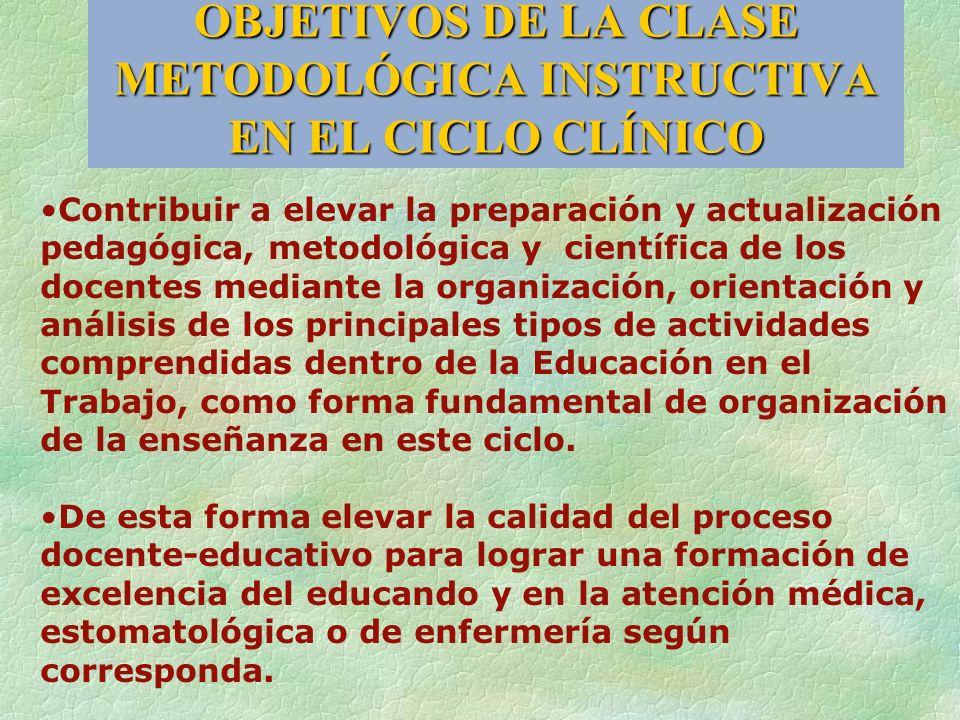 OBJETIVOS DE LA CLASE METODOLÓGICA INSTRUCTIVA EN EL CICLO CLÍNICO