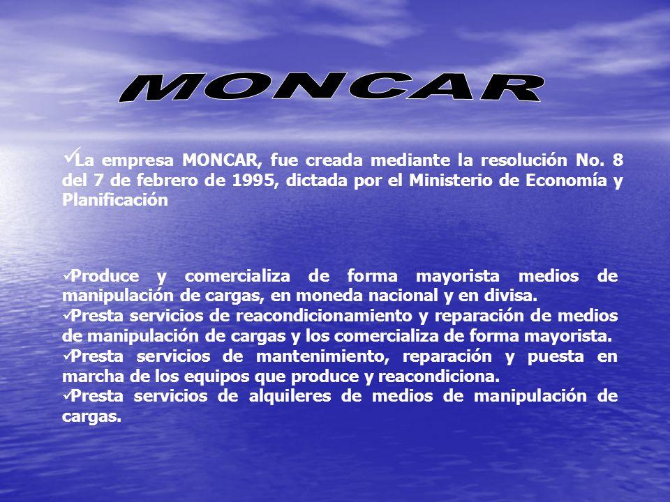 MONCAR La empresa MONCAR, fue creada mediante la resolución No. 8 del 7 de febrero de 1995, dictada por el Ministerio de Economía y Planificación.