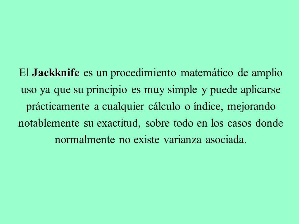 El Jackknife es un procedimiento matemático de amplio uso ya que su principio es muy simple y puede aplicarse prácticamente a cualquier cálculo o índice, mejorando notablemente su exactitud, sobre todo en los casos donde normalmente no existe varianza asociada.