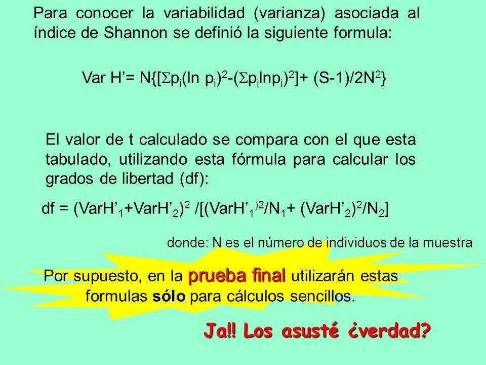 Para conocer la variabilidad (varianza) asociada al índice de Shannon se definió la siguiente formula:
