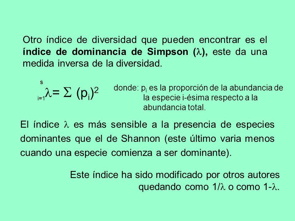 Otro índice de diversidad que pueden encontrar es el índice de dominancia de Simpson (), este da una medida inversa de la diversidad.