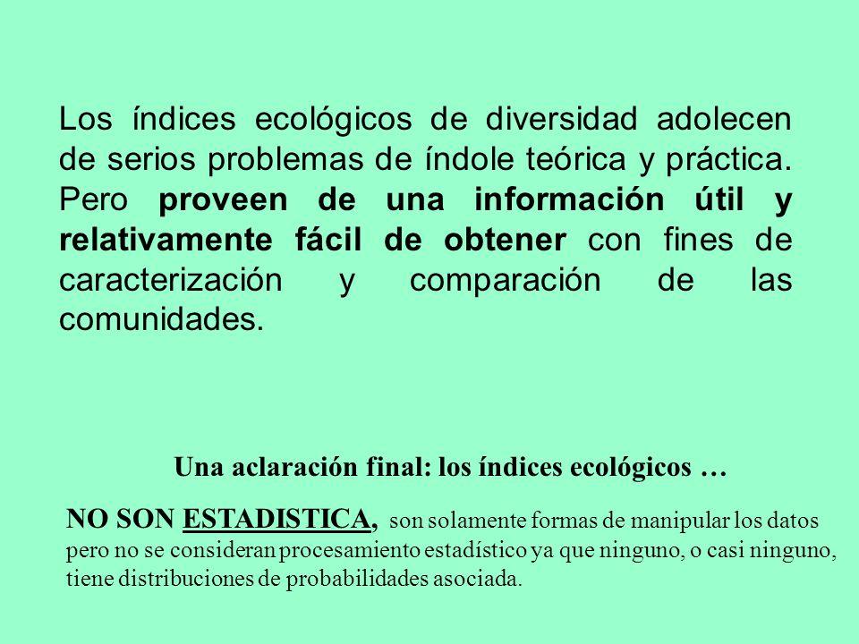 Una aclaración final: los índices ecológicos …