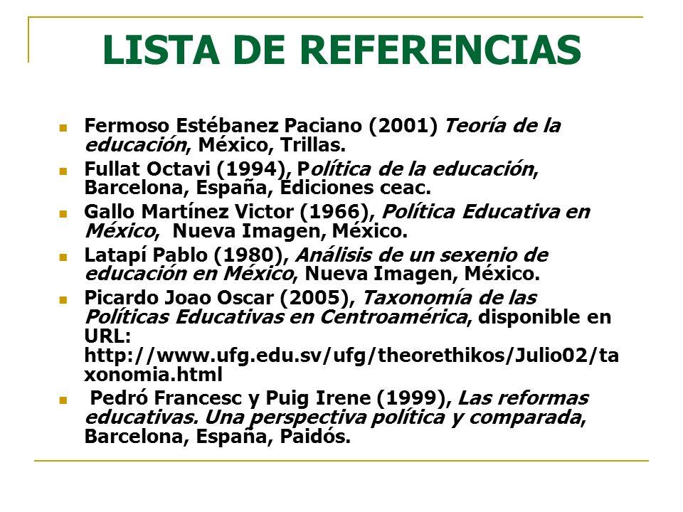 LISTA DE REFERENCIAS Fermoso Estébanez Paciano (2001) Teoría de la educación, México, Trillas.