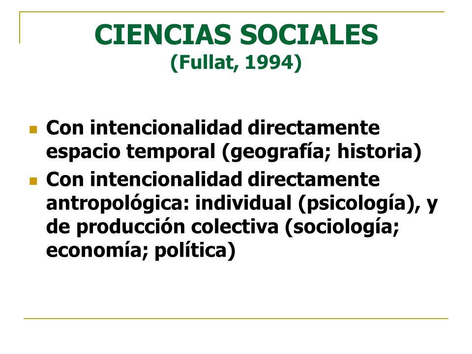 CIENCIAS SOCIALES (Fullat, 1994)