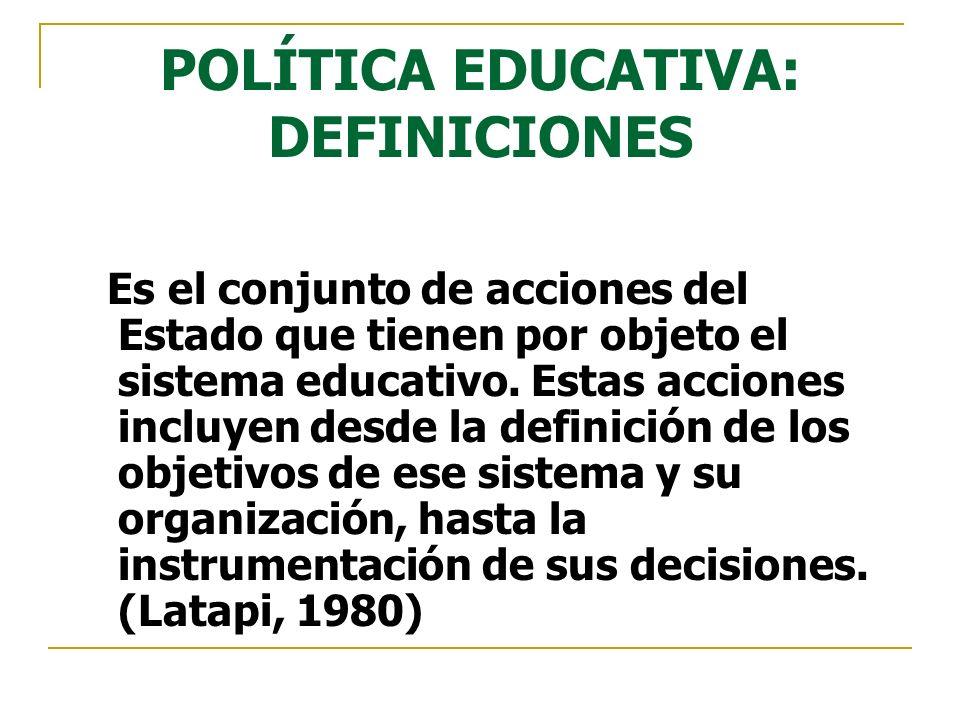 POLÍTICA EDUCATIVA: DEFINICIONES