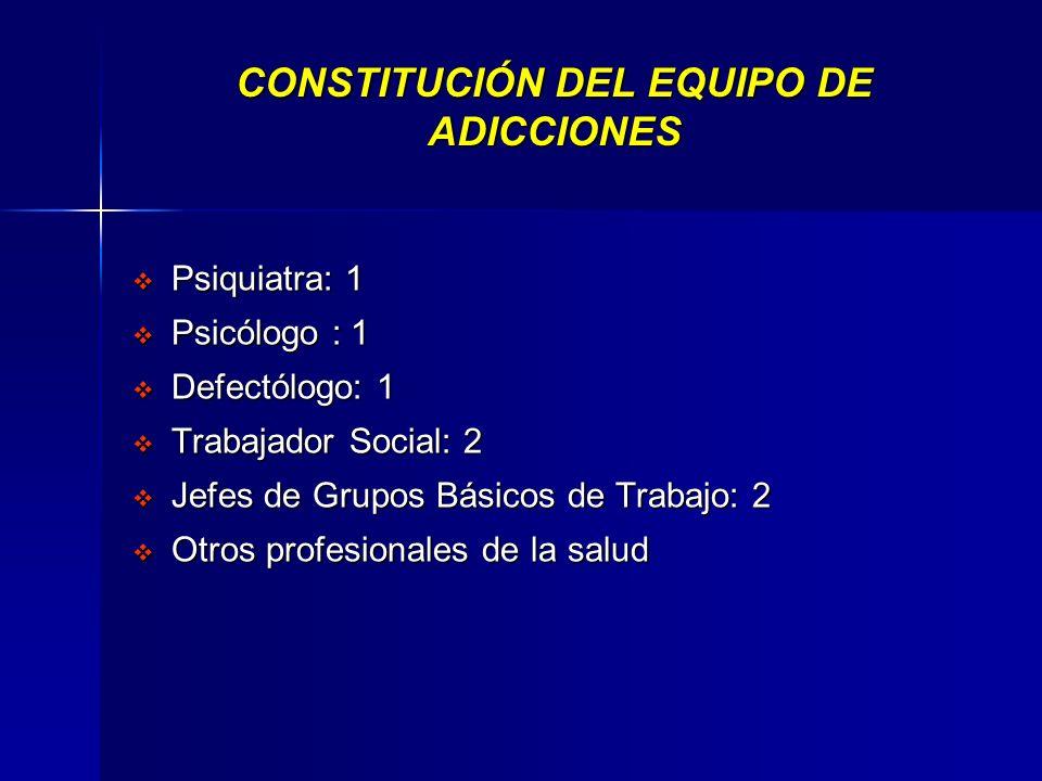 CONSTITUCIÓN DEL EQUIPO DE ADICCIONES