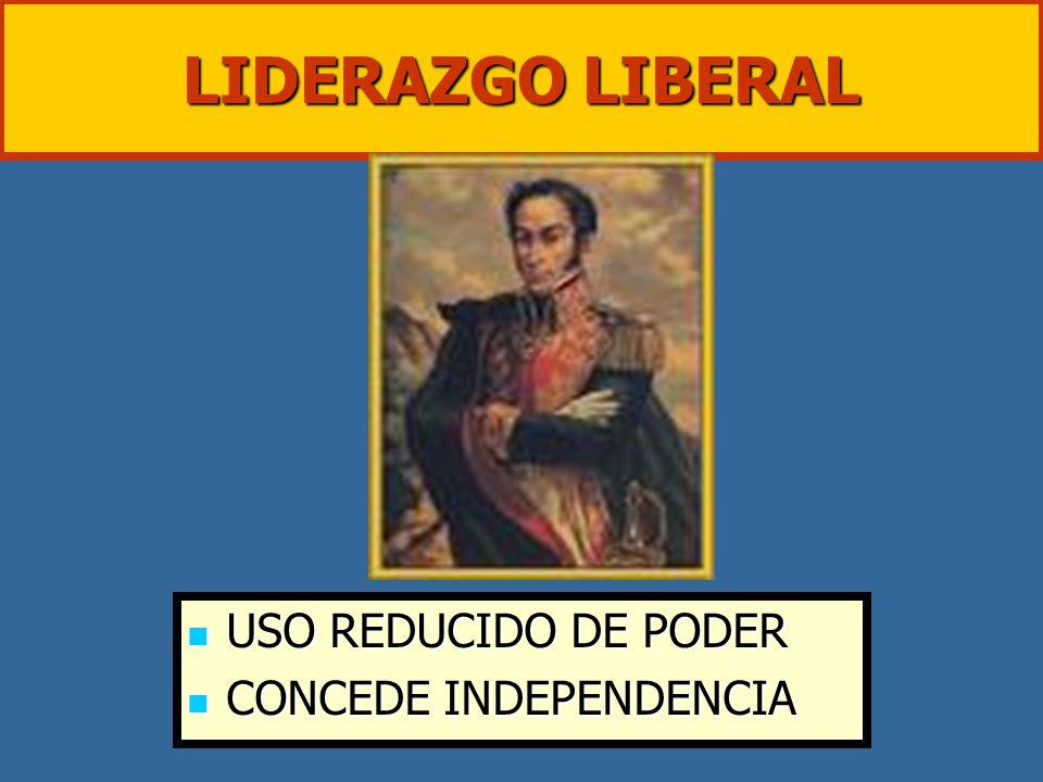 LIDERAZGO LIBERAL USO REDUCIDO DE PODER CONCEDE INDEPENDENCIA