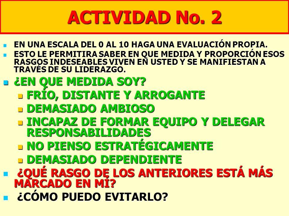 ACTIVIDAD No. 2 ¿EN QUE MEDIDA SOY FRÍO, DISTANTE Y ARROGANTE