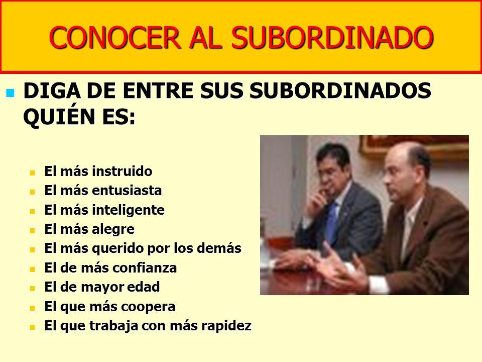 CONOCER AL SUBORDINADO