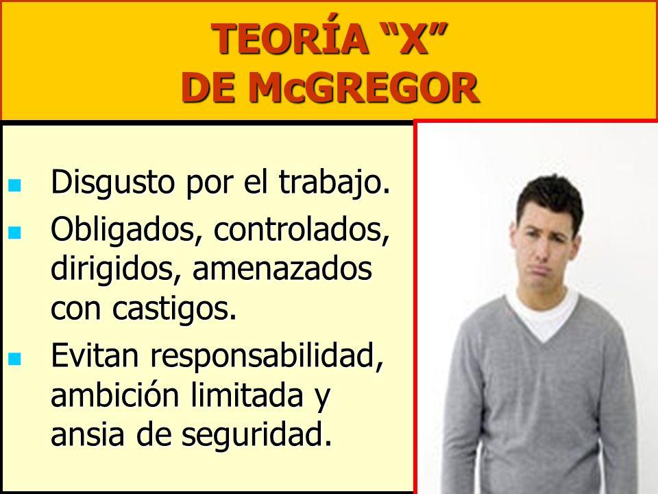 TEORÍA X DE McGREGOR Disgusto por el trabajo.