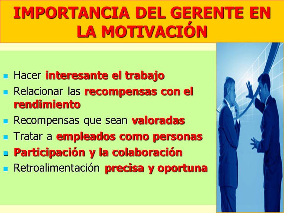 IMPORTANCIA DEL GERENTE EN LA MOTIVACIÓN