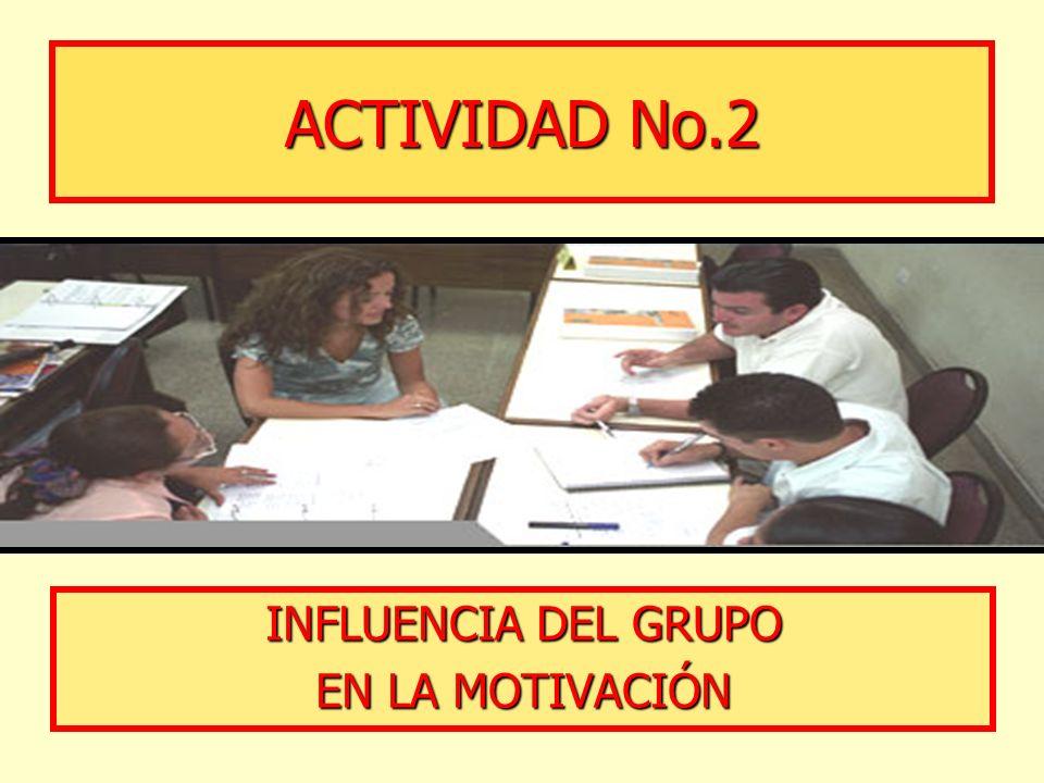 ACTIVIDAD No.2 INFLUENCIA DEL GRUPO EN LA MOTIVACIÓN