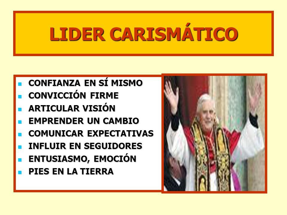 LIDER CARISMÁTICO CONFIANZA EN SÍ MISMO CONVICCIÓN FIRME