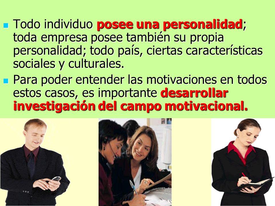 Todo individuo posee una personalidad; toda empresa posee también su propia personalidad; todo país, ciertas características sociales y culturales.