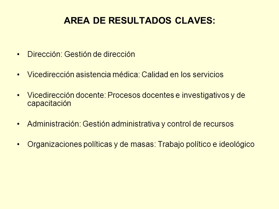 AREA DE RESULTADOS CLAVES: