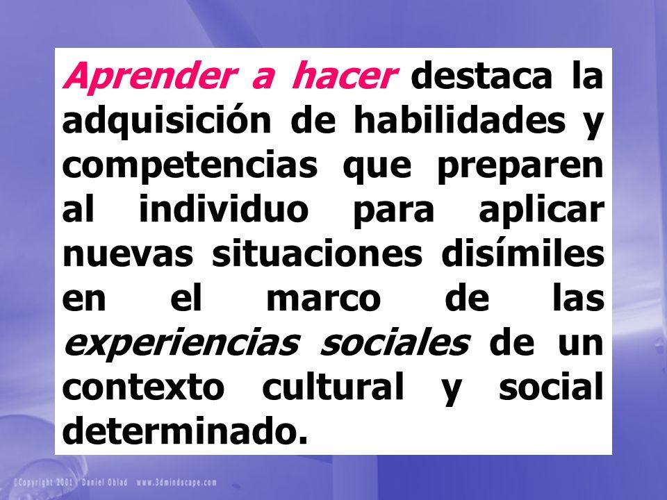 Aprender a hacer destaca la adquisición de habilidades y competencias que preparen al individuo para aplicar nuevas situaciones disímiles en el marco de las experiencias sociales de un contexto cultural y social determinado.