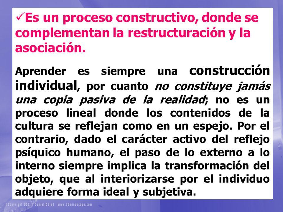 Es un proceso constructivo, donde se complementan la restructuración y la asociación.