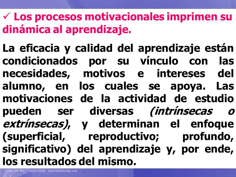 Los procesos motivacionales imprimen su dinámica al aprendizaje.
