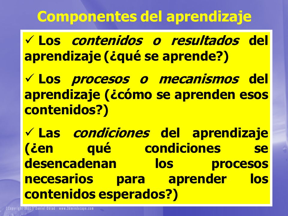Componentes del aprendizaje