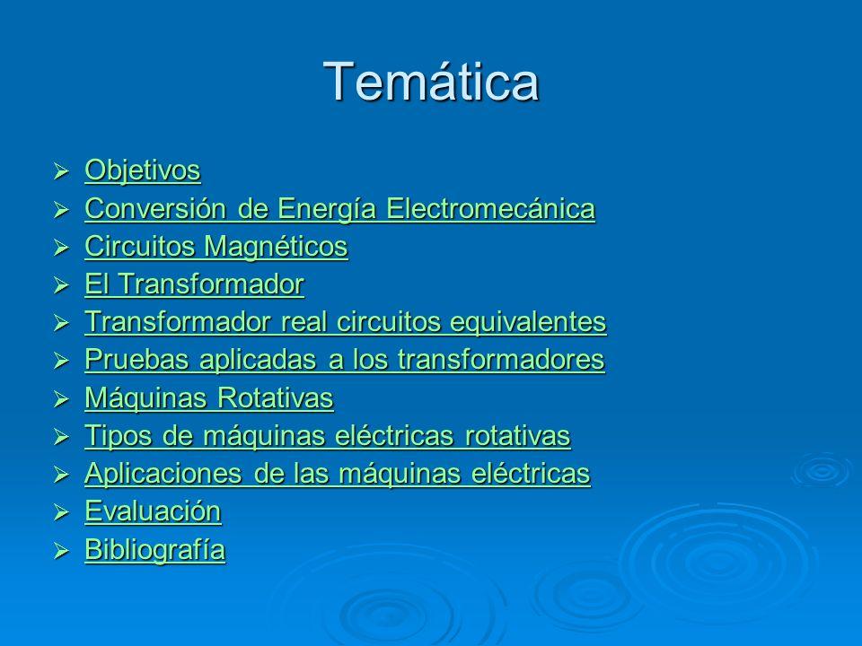 Temática Objetivos Conversión de Energía Electromecánica