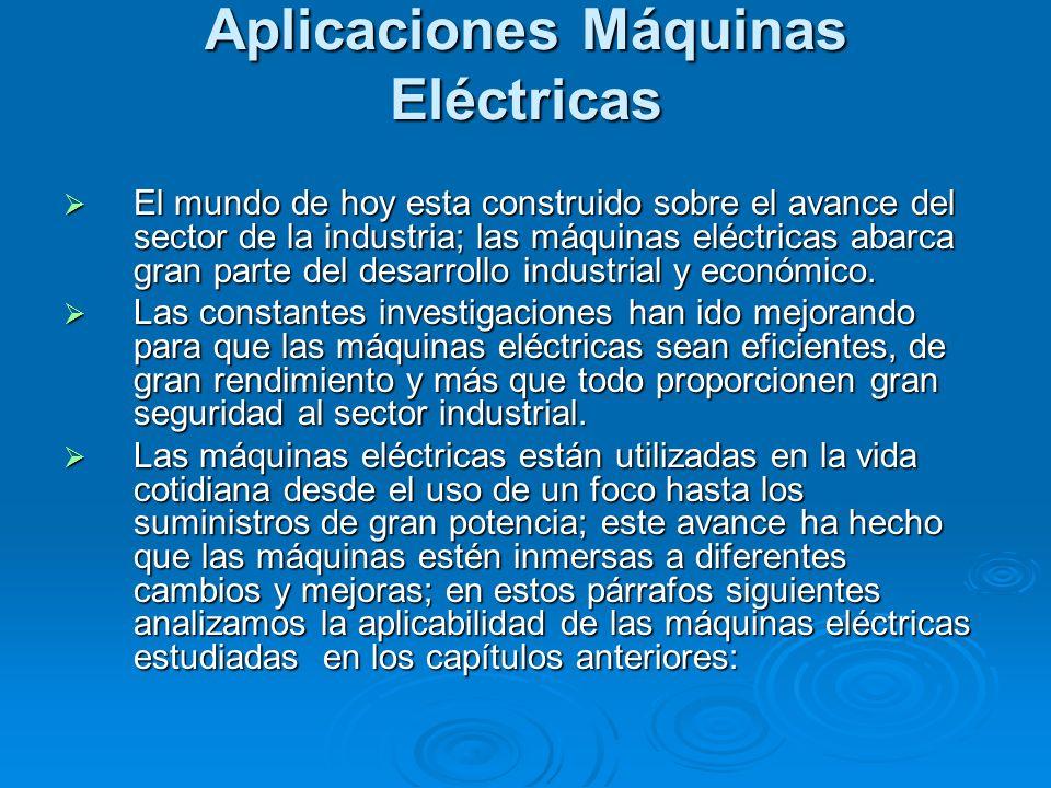 Aplicaciones Máquinas Eléctricas