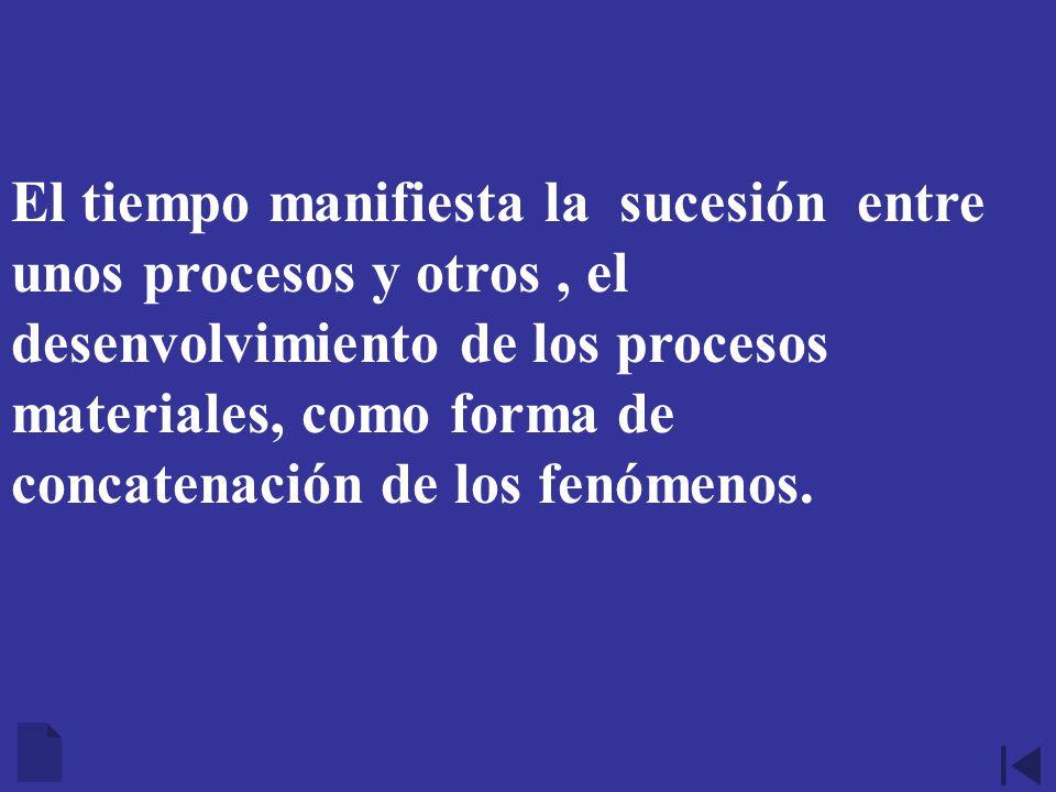 El tiempo manifiesta la sucesión entre unos procesos y otros , el desenvolvimiento de los procesos materiales, como forma de concatenación de los fenómenos.