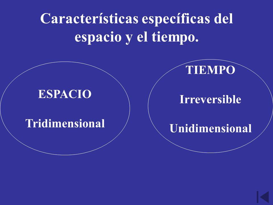 Características específicas del espacio y el tiempo.