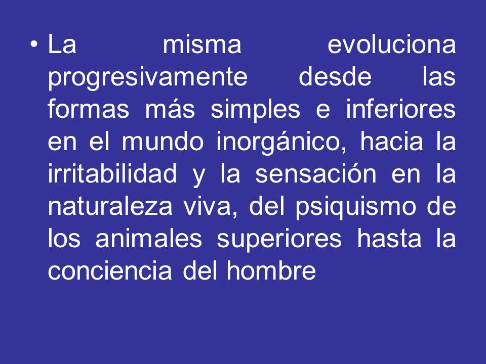 La misma evoluciona progresivamente desde las formas más simples e inferiores en el mundo inorgánico, hacia la irritabilidad y la sensación en la naturaleza viva, del psiquismo de los animales superiores hasta la conciencia del hombre